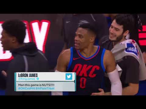 Russell Westbrook Trolls Joel Embiid's Waving Gesture after Triple OT Win