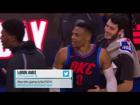 Russell Westbrook Trolls Joel Embiid's Waving Gesture after Triple OT Win