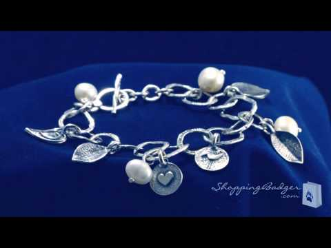 Sterling Silver Pearl, Heart, And Leaf Charm Bracelet