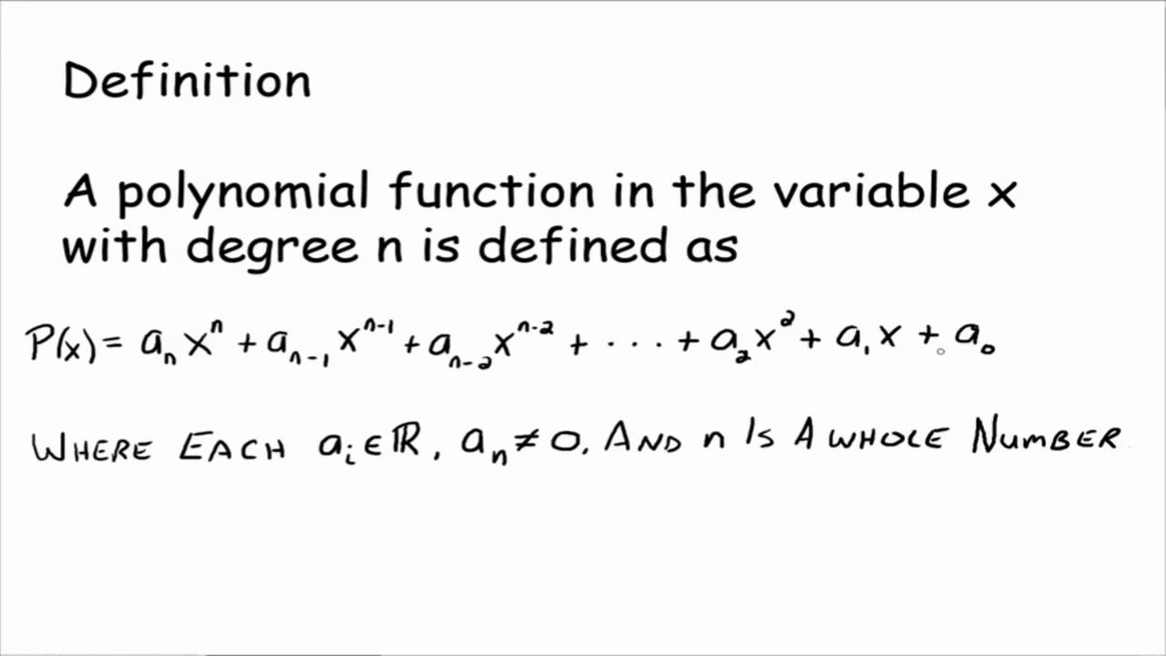 definition of a polynomial function youtube