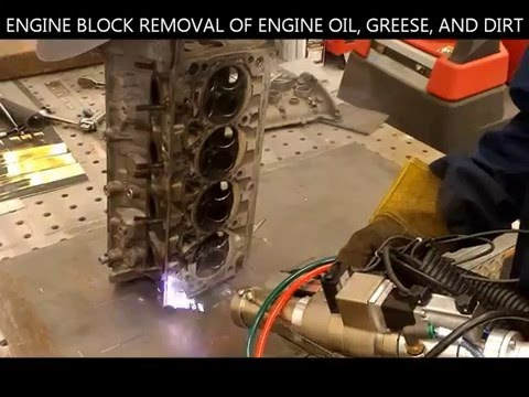 World's First Laser Removal of Dirt and Oil from Engine Part