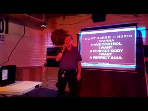 November 12, 2015. Me singing Creep on karaoke night