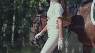 Beautiful girl riding a horse in countryside. The suit rider