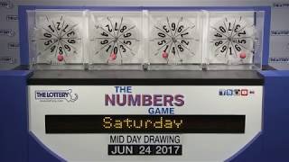 Midday Numbers Game Drawing: Saturday, June 24, 2017