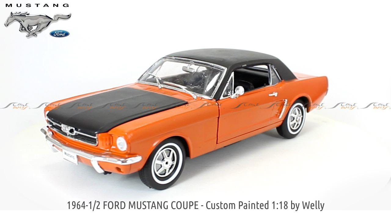 1964 1 2 ford mustang coupe custom painted 118 welly diecast scale model car www scaleartsin com youtube