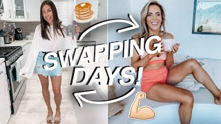 SWAPPING LIVES FOR A DAY! Workout, Makeup Routine, & Food! ft. Katie Dunlop