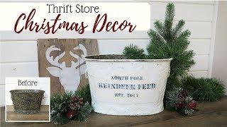 Christmas Thrift Store Decor | Farmhouse Vintage Inspired Tin