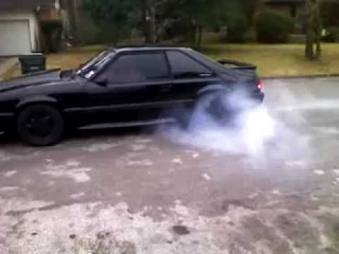 Black 89 Mustang Gt Burnout Youtube