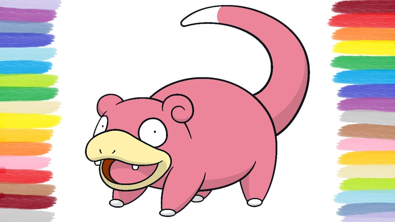 How To Color Slowpoke Pokemon Coloring Book For Kids Youtube - Slowpoke-coloring-pages