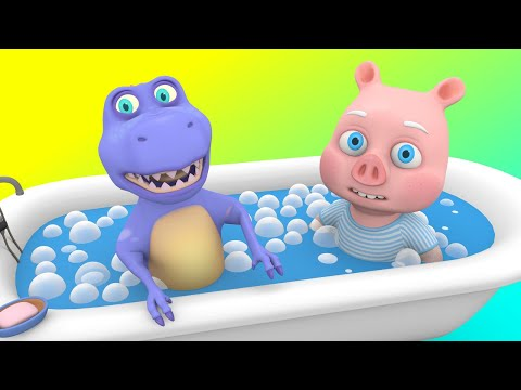 Spooky Superheroes - Yes Yes Bath Song with Big T-Rex Ghost Cartoon - Songs for Children