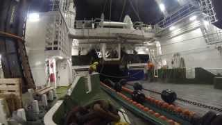Atlantic Viking - Fishing in Barents Sea, January 2014 - Automatic packing of fish blocks