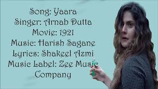 Yaara,tu,mujhme, yuin,basa,lyrics,,,arnab, datta,(lyrics) video