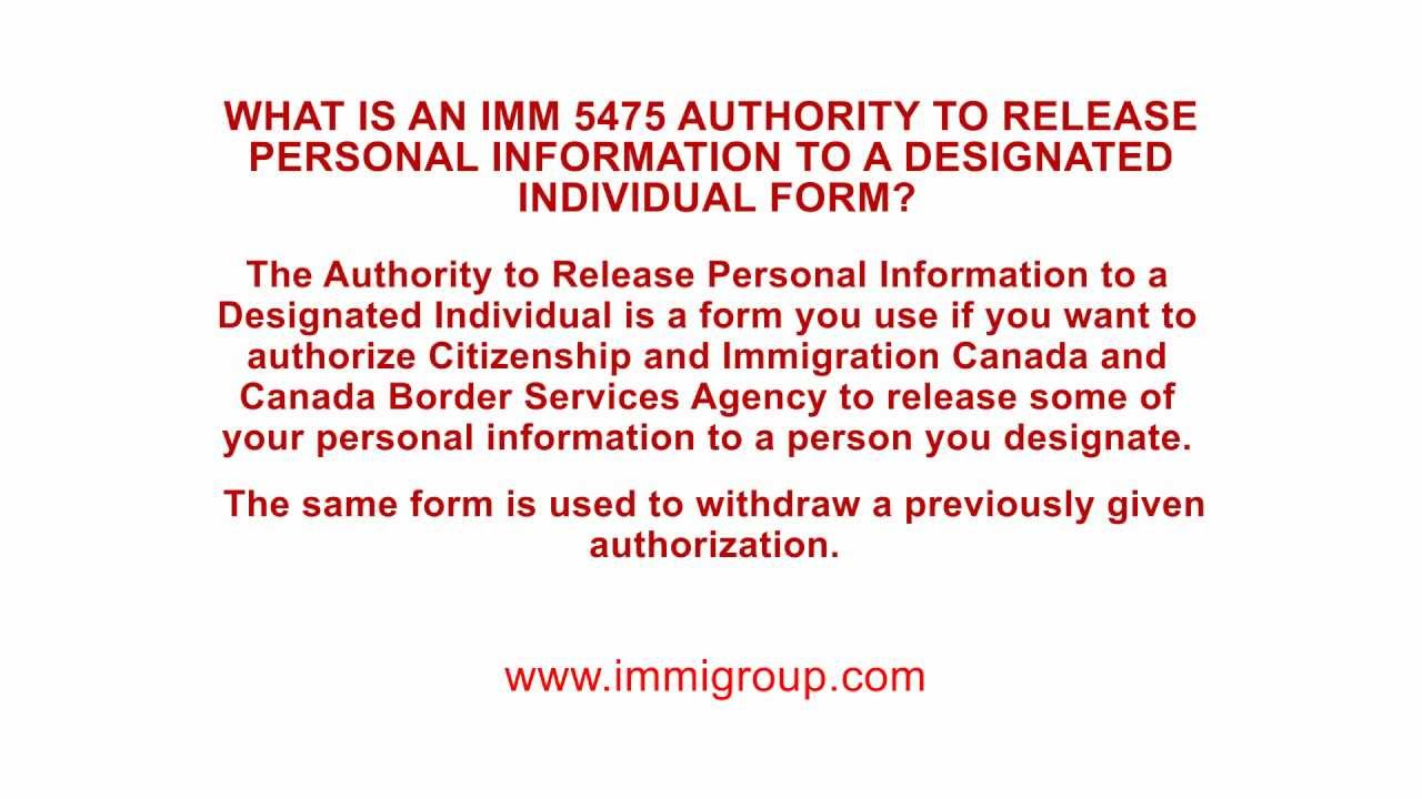 What Is An IMM 5475 Authority To Release Personal Information To A  Designated Individual Form?   YouTube  Personal Information Release Form