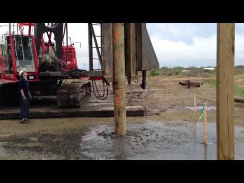 Driving Piles in Grand Isle, vulcan hammer