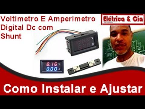 Instalação e Ajuste do Amperímetro Digital DC com Shunt