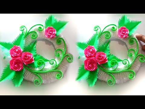 easy home decorating idea / diy paper flower wall decoration idea | make flower wreath for wall