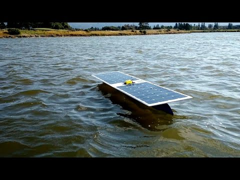 This autonomous boat is trying to cross an ocean using only solar power