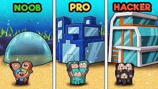 Minecraft - FAMILY HOUSE UNDERWATER! (NOOB vs PRO vs HACKER)