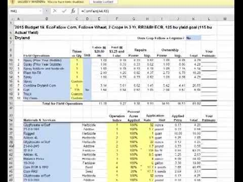 Extensiontv using excel worksheets for nebraska crop budgets for Crop budget template
