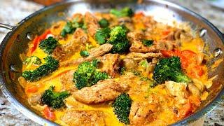Одна сковородка. Куриная грудка в сливочном соусе на сковороде.  Куриная грудка рецепты.