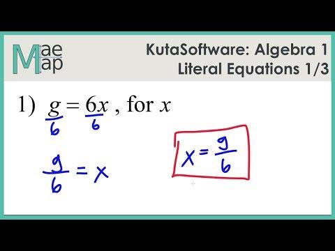 KutaSoftware: Algebra 1 - Literal Equations Part 1