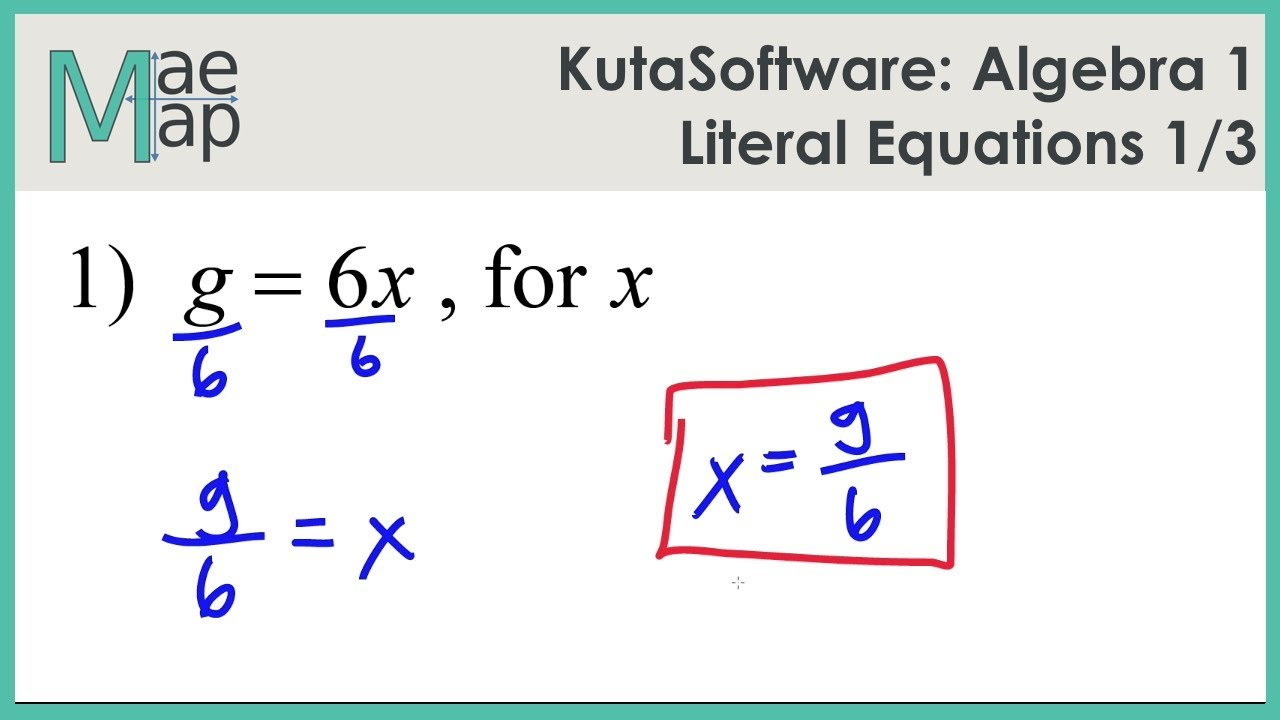 Literal Equations Alg 1 Math Worksheets. Literal. Best ...