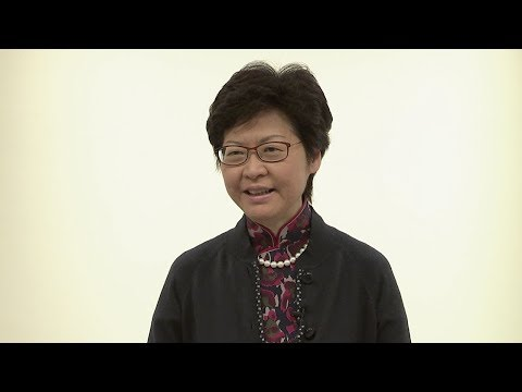 Carrie Lam, in Cantonese, optimistic about Hong Kong's future