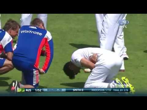 Alastair Cook gets hit on his Main Part