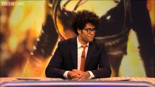 host richard ayoade leads a game of who do you think you are never mind the buzzcocks bbc two