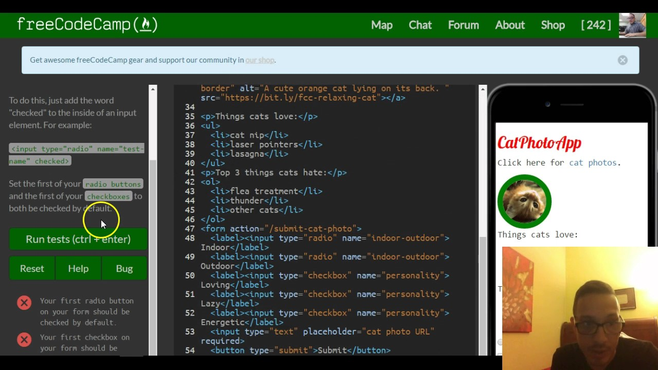 Check Radio Buttons and Checkboxes by Default, freeCodeCamp review html &  css, lesson 34