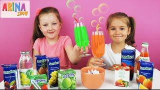 ✿ СОК ЧЕЛЛЕНДЖ от Арины и Насти мешаем все и пробуем Kid's JUICE Challenge
