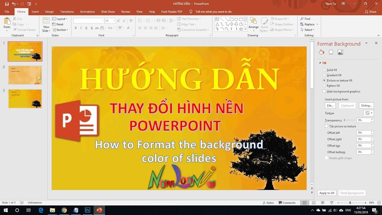 Hướng dẫn thay đổi hình nền slider trong Powerpoint mới nhất (Change backgroud slider)