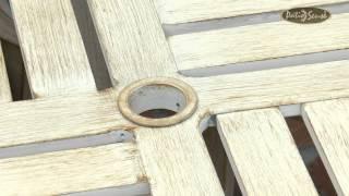Aged Teak Wood Finish Aluminum Patio Dining Set Item #61608