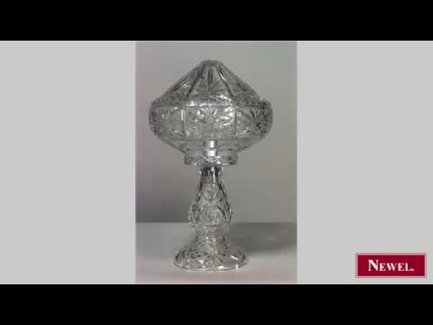 Antique English Victorian Cut Crystal Table Lamp With Cone