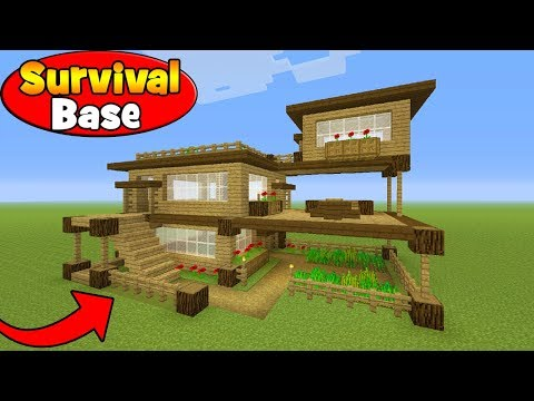 """Minecraft Tutorial: How To Make A Survival House in Minecraft """"Survival Base"""""""