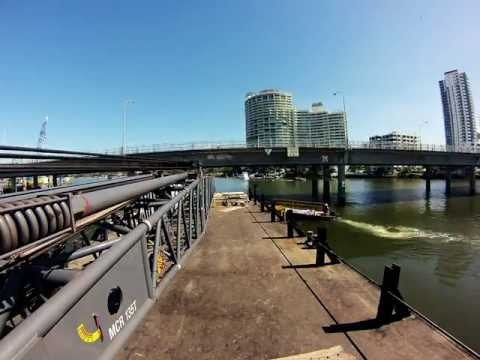 Time Lapse of 2nd light rail construction barge moving into position