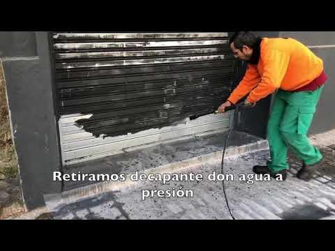 Decapado de persiana metálica, previo a protección con PLX CRISTAL COLOR