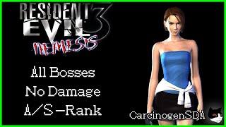 Resident Evil 3 (PS1) - No Damage, All Nemesis (All Bosses) (Hard, S Rank)
