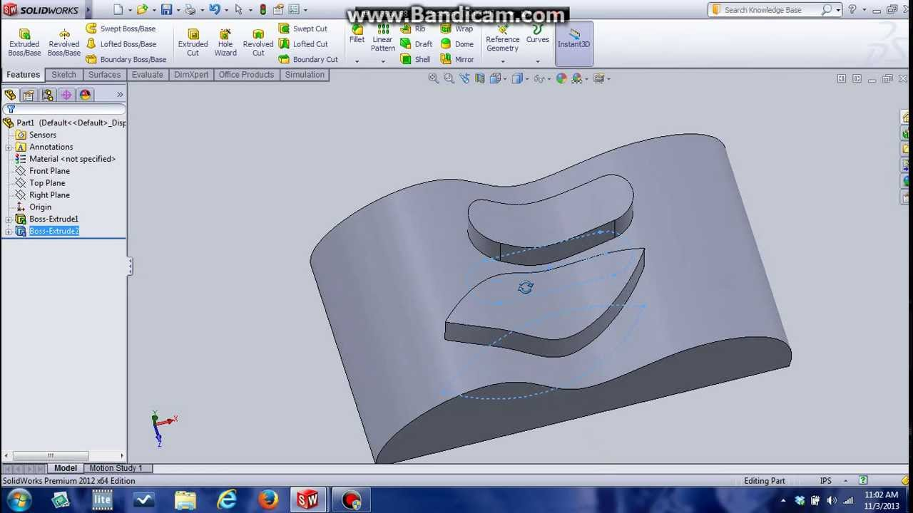 How To Extrude Curvature Surface Solidworks Youtube