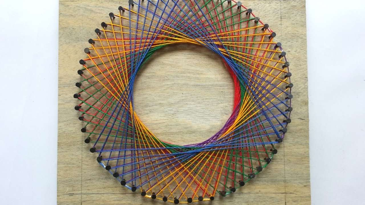 How To Create A Colorful Spirograph String Art Diy
