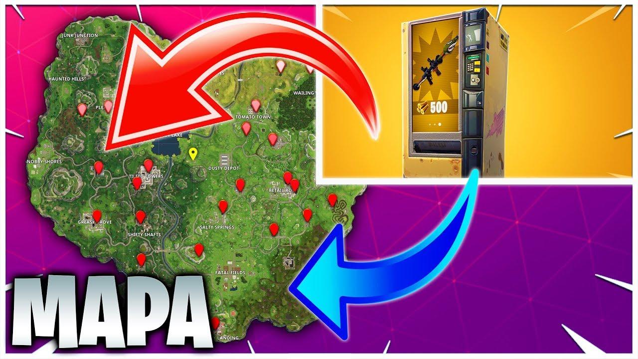 mapa de maquinas expendedoras localizacion todas las nuevas maquinas expendedora en fortnite - mapa de todas las maquinas expendedoras de fortnite temporada 8