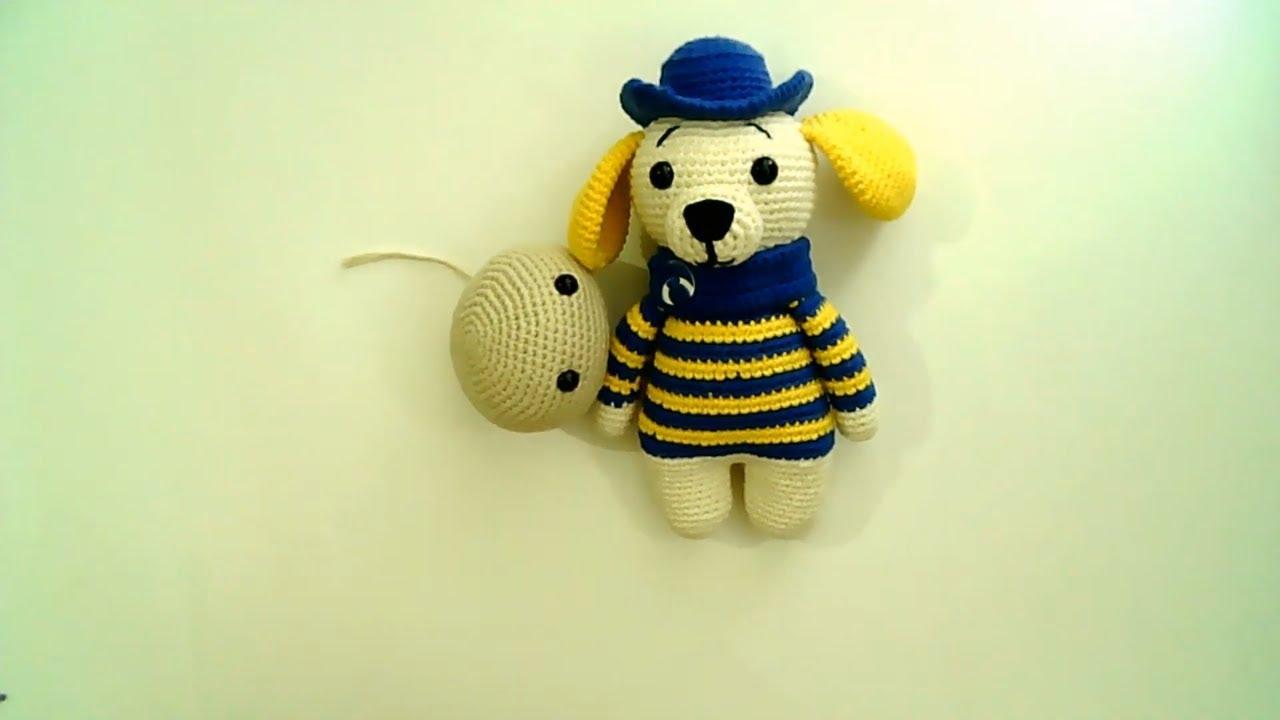Amigurumi şapkalı köpek yapımı Amigurumi şapkalı köpek kafa yapımı -05