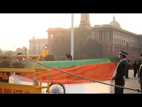 Folding ceremony of Indian flag at Vijay chowk