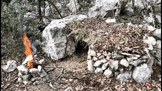 ALONE SURVIVAL 24H CHALLENGE Swiss Army Knife Only Overnighter in Primitive Stone Shelter Bushcraft