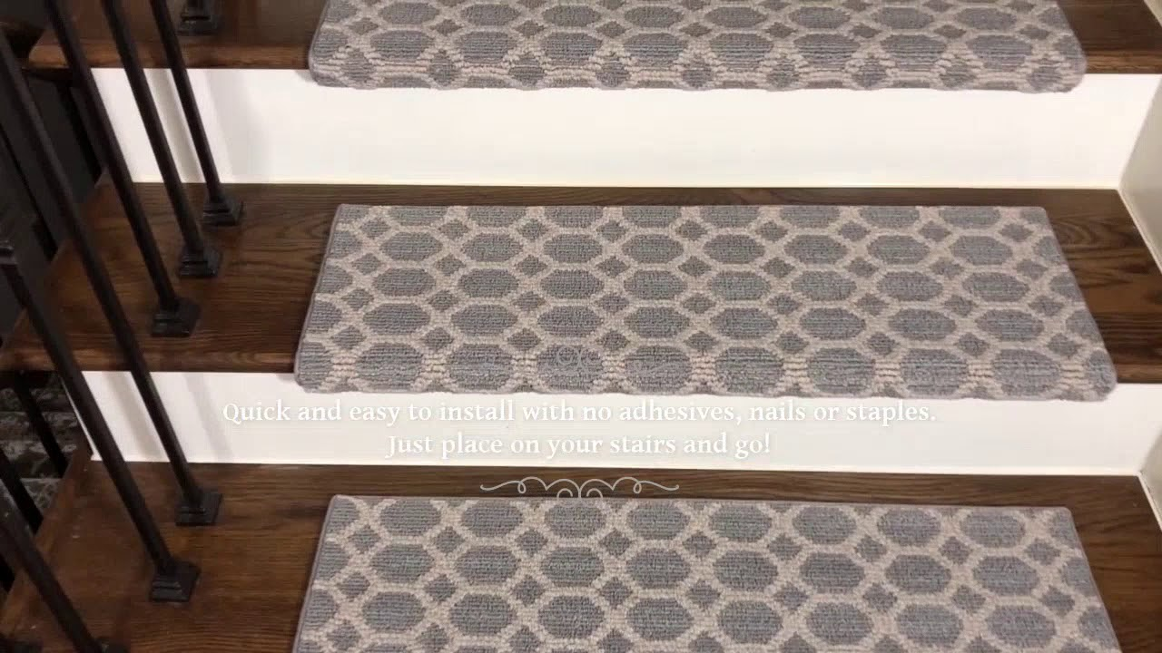 Silverado Gray Bullnose Non Slip Carpet Stair Treads