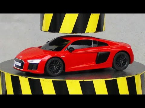 EXPERIMENT HYDRAULIC PRESS 100 TON vs Audi R8 (Toy)