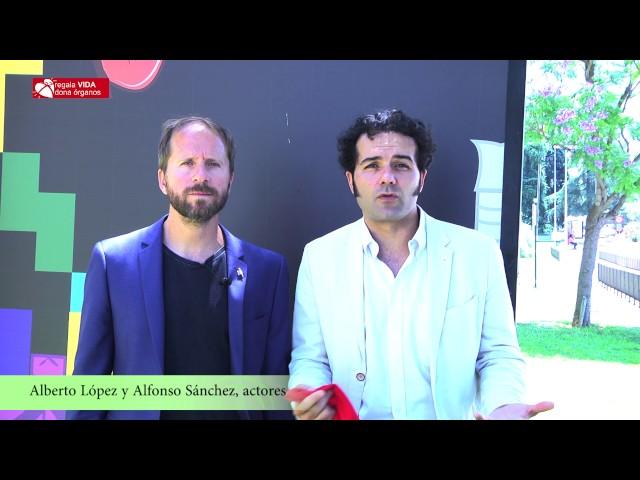 Llamamiento a la donación de los actores Alfonso Sánchez y Alberto López