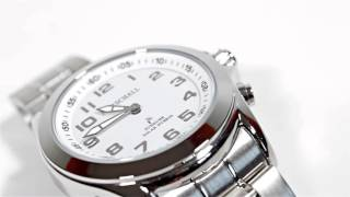 Produktvideo zu Sprechende Funk-Armbanduhr für Herren mit Gliederarmband Solar White