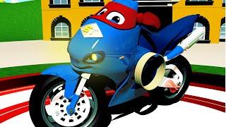 La BICICLETA de MOTOR de CAMIONES - Carl el Super Camión en Coche de la Ciudad | Moto de dibujos animados para los Niños