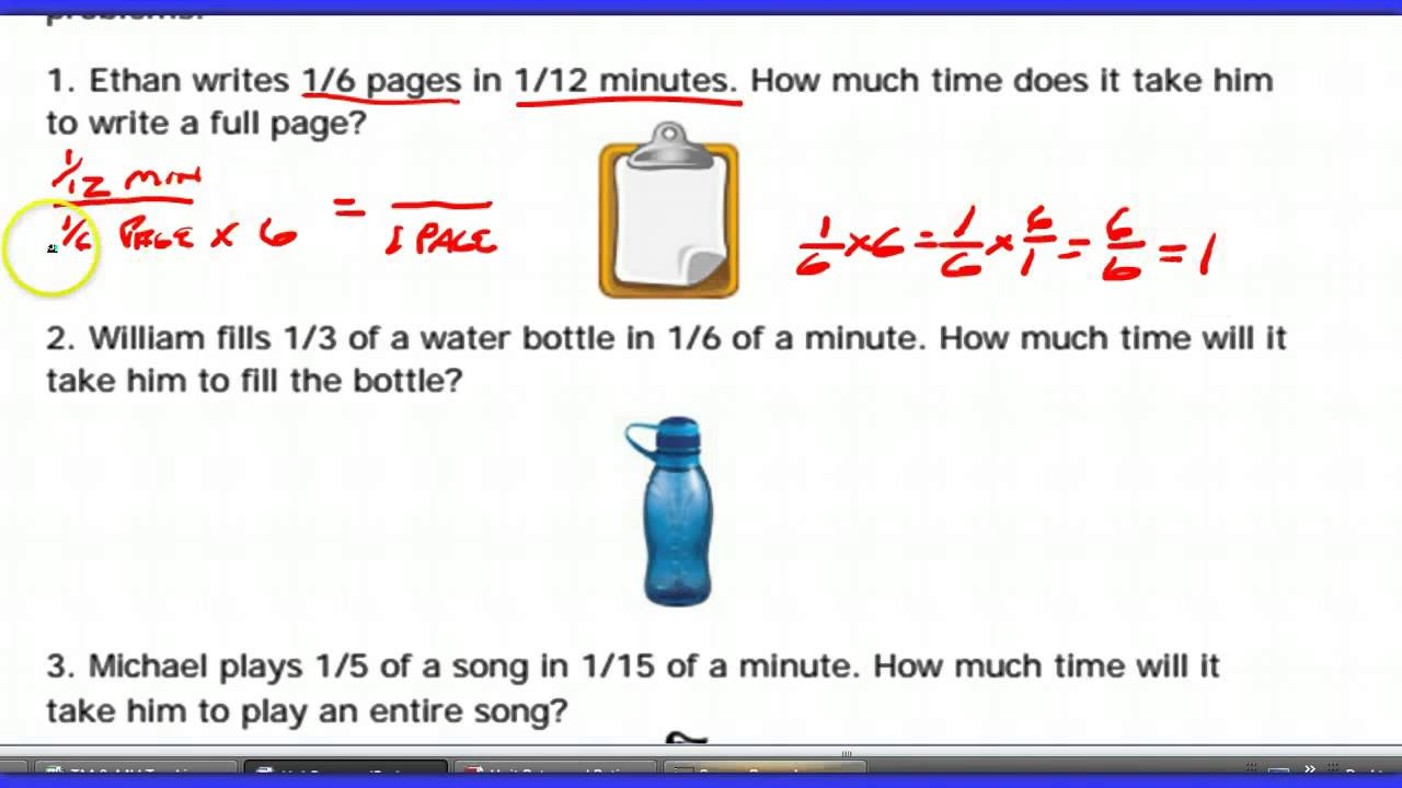 Unit Rate and Ratios of Fractions Worksheet Help - YouTube